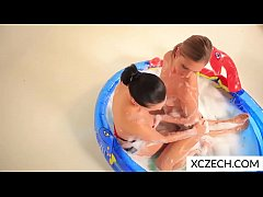 Nasty girls playing sexual games in the pool