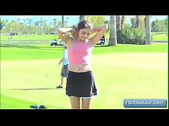 Brunette young amateur cutie Adria running naked on the golf course
