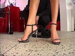 Celia Jones - threesome - in the shoe shop with J.B.