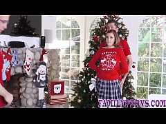 Stepsister gets taboo fucked and gives blowjob under xmas tree