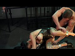 BDSM XXX Sexy tattooed Slave girl gets mouth full of cock from Master