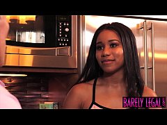 Young ebony Jenna Foxx stretched passionately by employer