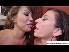 Ava Devine and Sara Jay share his cum