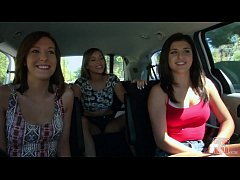 HD GIRLS GONE WILD - In A Cab Game Show With Three Young Babes