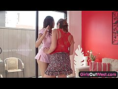 Girls Out West - Lesbian beauties try cunnilingus