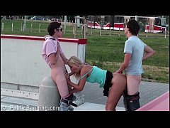 Young cute blonde teen girl PUBLIC street threesome
