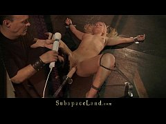 Slutty blonde trembles under sub punishment and rough fuck machine