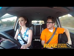 fake driving school pink nipples big tits redhead kinky girl gets a facial