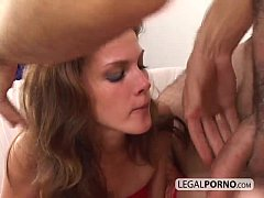 Two hot brunettes playing with toys get fucked by a big cock GB-9-04