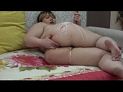 Wax on the body and anal masturbation to orgasm, chubby with a big ass fuck insatiable holes.