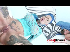 Tattooed slut Calisi Ink brutally DAP'ed & creampied