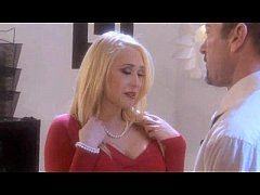 Kagney Linn Carter in red top and stockings suc...