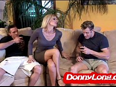 Donny Long breaks skinny milf asshole and DP her with friend