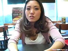 Japanese USA Girl Flashes Her Big Boobs At A Gas Station