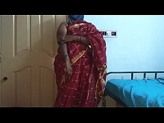 desi  indian tamil telugu kannada malayalam hindi horny cheating wife vanitha wearing cherry red colour saree showing big boobs and shaved pussy press hard boobs press nip rubbing pussy masturbation