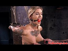 Inked bdsm sub restrained for pussyrubbing