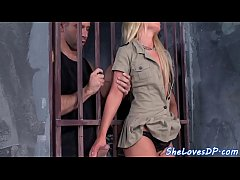 Eurobabe assfucked during prison threesome