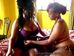 Gorgeous African babe seduced by chunky black lezzieedroom-1