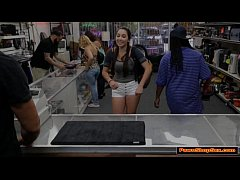 Teen Carly shakes her tits and ass infront of pawnshop owner