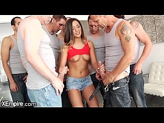 Young Babe Blows 5 Dicks at Once and Cums 4 Magic Wand
