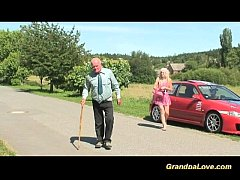 Blonde babe fucking an old guy
