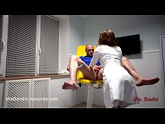 Horny Nurse Mia Bandini hard fucked a patient on a GYNECOLOGICAL CHAIR. Anal Creampie and rough hard sex, amateur couple, fitness model fuck, sexy ass