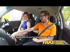fake driving school instructor fucks and creampies sexually frustrated redhead