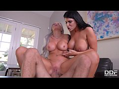 Deep Throat Lovers Romi Rain & Nina Elle Titty Fucked Hardcore
