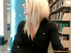 Sexy hot blonde gets caught masturbating in public library