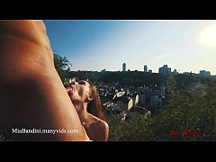 Outdoor sex in public panoramic view with cumshot on mouth. Mia Bandini