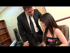 Boss becomes angry on his young secetary Ashlyn Rae when he foud critical mistakes in her report