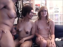 Three gorgeous shemales and guy on cam