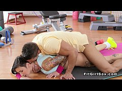 Horny brunette sucks huge dick in the gym