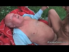 Pretty babe fucked by old guy