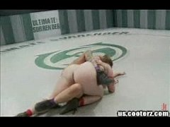 Skinny blond gets ass kicked by big titted bitch