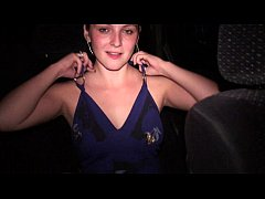 Young pretty teen girl undressing in car in public COOL