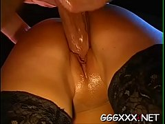 Stunning beauty gets rough pussy drilling with jizz flow