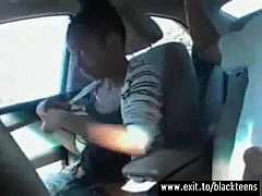Black amateur teen Melinda deepthroating in car