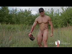 Hot naked baseball player with bat from baseball gay porn