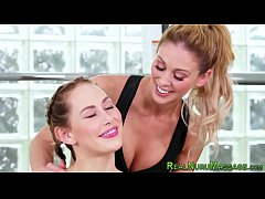 Wet and messy lesbian masseuse licking