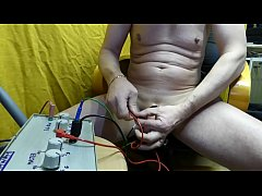electrostimulation  homemade box with routines music in cock and in ass for cum