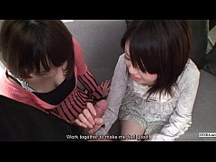 Subtitled Uncensored POV Japanese CFNM threesome blowjob in Full HD