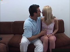 Classy, sexy blonde girl tested by rough guy
