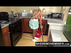 sheisnovember topless mopping in kitchen and upskirt ebony ass and big natural tits
