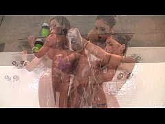 Its a girlgirl in a hot shower with 2 beautiful girls having fun with lots of ki