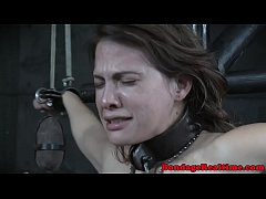 Toyed slave orgasms while restrained
