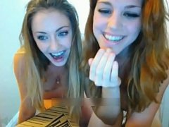 Blonde college teens doing naked pizza challenge - hotgfscum.com