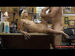 Skinny babe screwed by pervert pawn dude