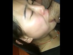 Asian chick blowing cock and eating cum
