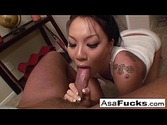Asa gives an amazing deep throat blow job